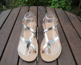 Hand Made Greek Leather Sandal (Silver, Natural Colour)