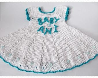 Personalized Baby crochet Dress  Girl's personalized name dress White blue baby Crocheted Christening Gown Newborn dress White Newborn dress