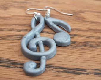 Silver music earrings, treble clef earrings, musical note earrings, polymer clay earrings