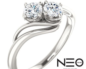 0.50 Carat NEO Moissanite 'Forever US' 2 Stone Ring (NEO Moissanite)
