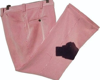 Mens Red 70s Pants Distressed