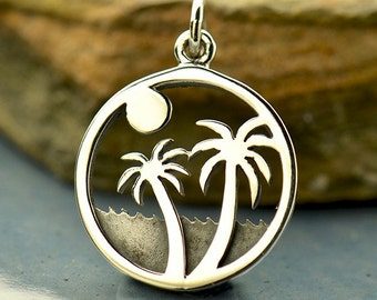 Sterling Silver Beach Charm. Palm Tree Charm.