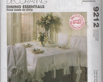 Dining Essentials Table Runner, Tablecloth, Chair Cover, Napkins and Placemats Sewing Pattern McCalls 9212, uncut