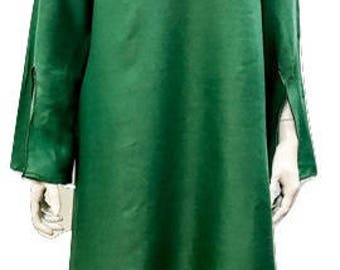 Plus size summer asymmetric hem embroidered v-neckline tunic dress green