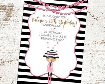 SALE 25% OFF Black Stripe Fashionista Diva Invitation - Birthday -  Baby Shower - Bridal Shower