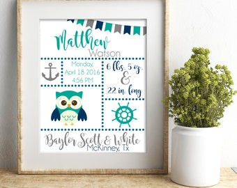 Baby Boy Nautical Birth Stats Print - Owl - Nursery Print
