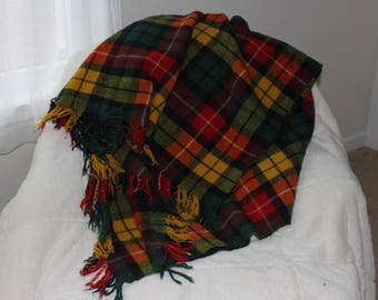 Beautiful Royal Scot Tartan Blanket / Wool Red Green Blue and Yellow / Plaid