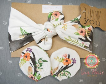 Baby girl headband set-newborn gift-baby shower outfit-camo baby-stag baby-deer baby-hunting theme baby-spoonflower-newborn mittens-floral