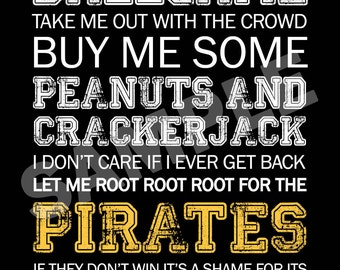 Pittsburgh Pirates Word Art 5x7 Print / Sign - Take Me Out to the Ballgame - Pittsburgh Pirates Subway Art Print