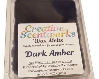 Dark Amber Scented Wax Melt, Wax Cubes, Wax Tart, Wickless Candle, Melting Wax, Wax Melt