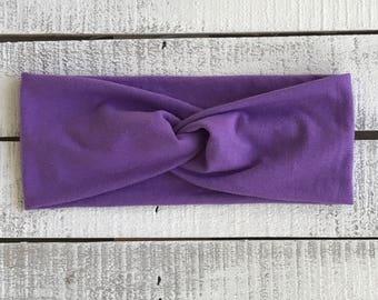 Lavender Headband, Lavendar Turban Twist Headband, Wide Headband, Wide Adulf Headband, Solid Colored Headband