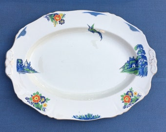 """Alfred Meakin Large 14 1/2"""" Platter Harmony Shape With Gilt Edge"""