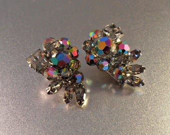 Eugene Earrings, Watermelon Crystal Rhinestone, Vintage 1960s, Clip On