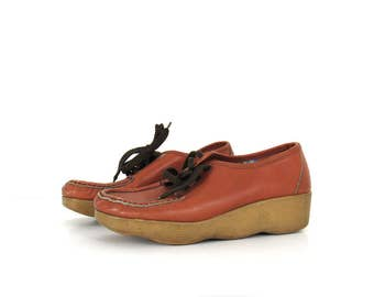 70s Wavy Sole Laced Loafers / Sneakers / Chunky heel boat shoes