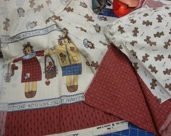 raggedy doll and bear fabric