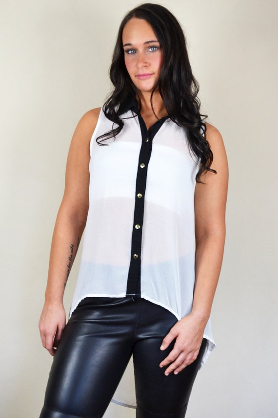 Black & White High-Low Sleeveless Button Down Semi Sheer Blouse Top