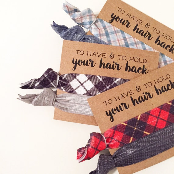 Plaid Bachelorette Favors | Plaid Hair Tie Favors, Winter Plaid Bachelorette Party Hair Tie Favors, Winter Wedding, Buffalo Plaid Hair Ties
