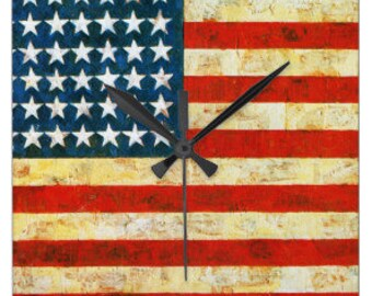 American Flag Wall Clock - Acrylic Battery Wall Clock - Housewarming Gift - USA Patriotic Clock - United States of America Wall Clock gift