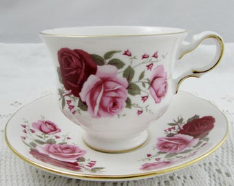Queen Anne Tea Cup and Saucer, Vintage Bone China, Tea Cup with Pink and Red Roses