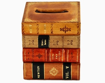 Vintage Horchow Italian Tooled Leather and Gilded Tissue Box with Stacked Book Motif