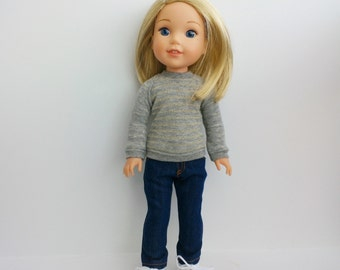 "Gray and gold stripe knit top and blue denim skinny jeans for 14"" doll such as Wellie Wishers and Hearts for Hearts"