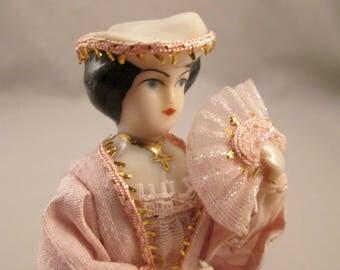 Vintage Miniature China Dollhouse Doll - Artist Made - tiny small