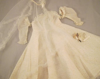 Vintage Doll's Wedding Dress Dotted Swiss - 1950's - 60's