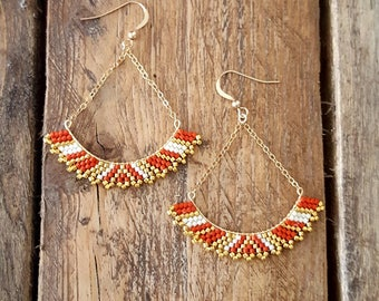 Earrings Gold Plated and Glass Beads Miyuki