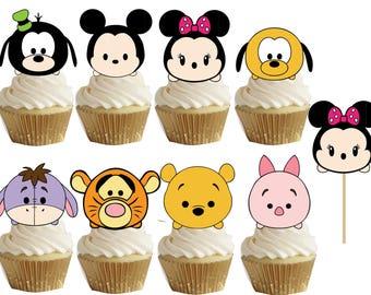 Tsum tsum cupcake/cakepop toppers 24 pcs