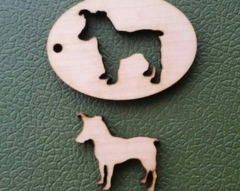 Maple Wood Cutout Jack Russell Terrier Keyring