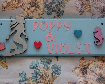 Mermaid personalised Childs Name plaque sign plate children's bedroom Door. Under the sea nursery. Any Name Names Any colours Shared bedroom