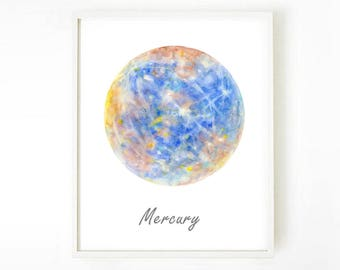 Planet Poster, Solar Mercury, Space poster, Outer space Art, wall art, mercury poster