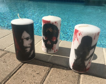 Handcrafted Walking Dead Candles 1 skull