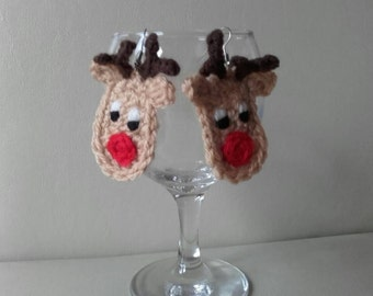 crochet  earrings, Rudolf earrings, Christmas earrings, fun earrings,  Crochet Rudolf