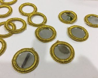 60 Read to Sew Shisha Mirrors Rings,loose, shisha embroidery Mirrors, Indian Shisha Embroidery, Banjara,Kutch Embroidery shisha Mirrors