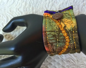 """Wrist cuff 7 1/4"""", fiber art bracelet, art to wear, textile art wrist cuff, fiber jewelry, Boho Cuff bracelet, OOAK, Wearable art #30"""