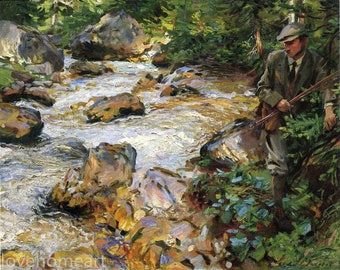 hand painted John Singer Sargent Trout Stream in the Tyrol landscape oil painting reproduction for bedroom decor wall art or gift