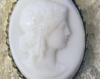 White Glass Cameo Brooch Grecian Lady