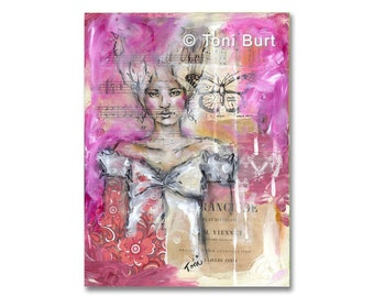 mixed media art print - emerging from the mist - by Toni Burt 8x10, pink girl portrait, sister daughter gift butterfly, jane austen inspired