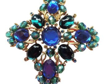 Exquisite Joan Rivers Blue Green And Yellow Rhinestone And Cabachon Maltese Cross Brooch /Pin Rhinestone Pin Rhinestone Jewelry