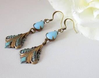 Light Blue Teardrop Earrings Blue  Earrings  Antique Bronze Verdigris Patina Earrings Art Nouveau Earrings Victorian Style Earrings