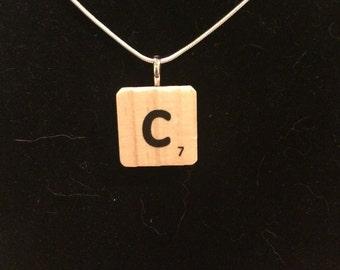 Scrabble tile initial pendant