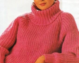 f264cefd7a75a7 womens chunky polo neck sweater knitting pattern PDF womens fishermans rib  jumper cowl neck 28-38