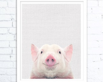 Pig Print, Baby Animal Prints, Farm Animal Print, Nursery Decor, Minimalist Pig Wall Art, Modern Farmhouse, Digital Download