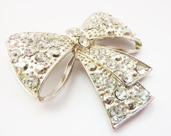 Pin Badge Brooch silver Bow vintage Jewelry gifts for her