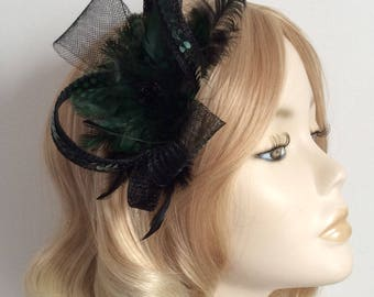 FOREST GREEN and BLACK Fascinator, Made with Sinamay and crin, Spotted feathers ,sequins, on a comb