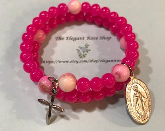 Beautiful Rosary Wrap Bracelet in Hot Pink