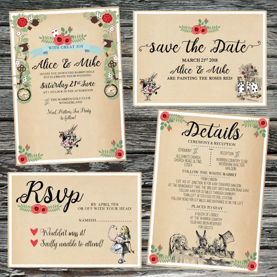 Personalised Alice in Wonderland Wedding Set