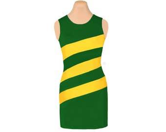 Green + Yellow Diagonal Stripe Dress
