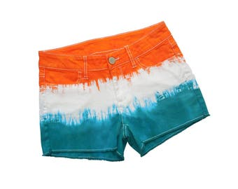 Orange + Aqua Tie-Dye Shorts